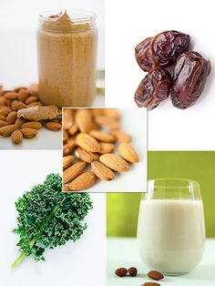 Almond + Kale Smoothie 1 packed cup torn kale leaves (discard the thick rib in the center of the leaf)  1 cup unsweetened almond milk  1 tbsp almond butter  1 tbsp soaked raw almonds  1 date, pitted  1 tbsp coconut oil Blend everything in a powerful blender until completely smooth and drink immediately.
