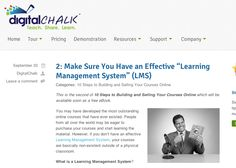 Make Sure You Have an Effective Learning Management System from DigitalChalk