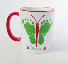 Items similar to Baby Butterfly Footprints Mug w/ Your Child's Actual Footprints, Beautiful Personalized Gift for Loved Ones, Baby Footprint Art Gift, Love on Etsy Butterfly Footprints, Baby Footprints, Baby Handprint Crafts, Baby Crafts, Baby Footprint Art, Pottery Painting, Beautiful Gifts, Grandma Gifts, Christmas Crafts