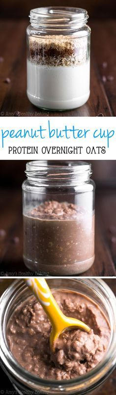 Peanut Butter Cup Protein Overnight Oats -- eat candy for breakfast without any guilt! This skinny 6-ingredient recipe tastes like Reese's cups, not healthy at all!