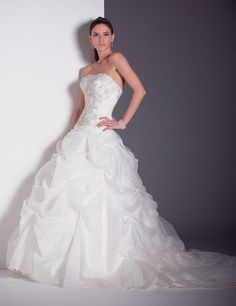Strapless Satin Organza Ball Gown Wedding Dress-Dressfame.com