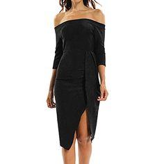 550f148caa2d ODJOY-FAN-Abbigliamento Donna Moda Mezza Manica Una Spalla Diviso Sexy Vestito  Ballo di