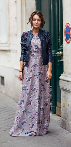 floral maxi + leather jacket.
