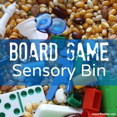 super easy sensory bin you can put together in 5 minutes!     crayonfreckles: board game sensory bin and activity