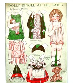 Dolly Dingle - Antique 1920s Dolly Dingle At The Party Uncut Paper Dolls from the Pictorial Review via Etsy