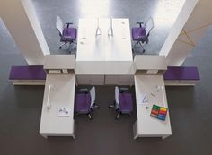 Tibas workstations with Very task chairs and Vados storage