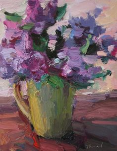 Lilacs in Yellow Cup -- Kathryn Townsend