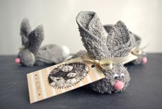 washcloth bunnies ... made these many many years ago with white washcloths ... am loving the gray though