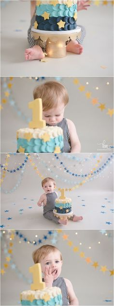star and moon themed first birthday cake smash session - love the twinkle lights!!