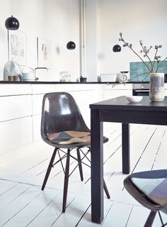Cushions | white wooden floor | kitchen | black pendant hanging lamp