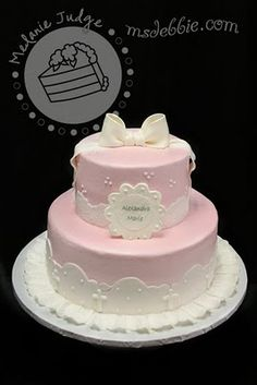 Pink Lace Christening Cake Cake was iced in buttercream, decorated with fondant lace, and topped with a gum paste bow. Christening Cake Designs, Pink Christening Cake, Fondant Lace, First Holy Communion Cake, Religious Cakes, Cupcakes Decorados, Baby Girl Baptism, Girl Cakes, Fancy Cakes