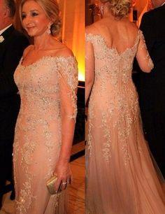 Light Champagne Off Shoulder 3/4 Sleeves Mother of the Bride Dress