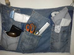 Porta trecos, aproveitando os jeans velhos