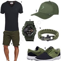 Schwarz-Olivgrünes Outfit mit Paracord-Armband (m0459) #outfit #style #fashion #menswear #mensfashion #inspiration #shirt #cloth #clothing #männermode #herrenmode #shirt #mode #styling #sneaker #menstyle