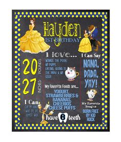 First Birthday Chalkboard / Beauty and the Beast by partyprinters