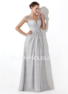Prom Dresses - $145.99 - A-Line/Princess V-neck Floor-Length Charmeuse Prom Dresses With Ruffle  Beading (018004815) http://jenjenhouse.com/A-line-Princess-V-neck-Floor-length-Charmeuse-Prom-Dresses-With-Ruffle--Beading-018004815-g4815