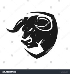Head of a bull, monochrome logo.
