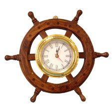 "Deluxe Class 12"" Wood & Chrome Pirate Ship Wheel Clock"