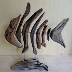 DRIFTWOOD ART Driftwood sculpture, pieces of furniture and art work Driftwood Shelf, Driftwood Fish, Painted Driftwood, Driftwood Furniture, Driftwood Projects, Driftwood Sculpture, Driftwood Chandelier, Driftwood Table, Driftwood Ideas