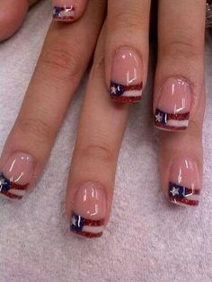 short nails red  whit and blue puerto rican | Red, White and Blue
