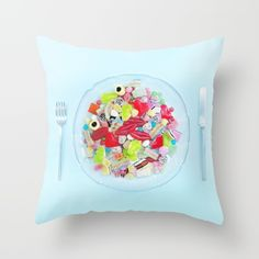 """""""WHAT'S FOR DINNER? 1""""  $20.00  https://society6.com/product/whats-for-dinner-1_pillow#25=193&18=126  MADE BY: NAOMI ROTHENGATTER - DIAZ"""