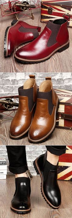 Men Retro Leather Carved British Style Casual Ankle Chelsea Boots