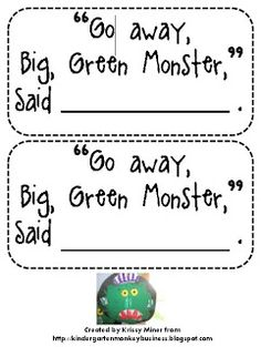 Miner's Kindergarten Monkey Business: Go Away Big, Green Monster Activity and Freebie Kindergarten Colors, Preschool Colors, Fall Preschool, Preschool Literacy, Preschool Themes, Kindergarten Reading, Kindergarten Classroom, Preschool Activities, Classroom Ideas