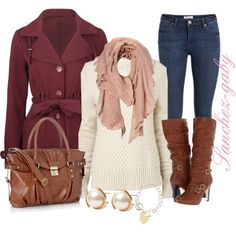 Feminine - rose, burgundy, jeans, cream, tan boots ...