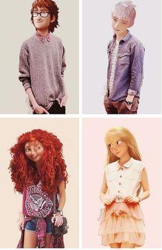 The Big Four~Hiccup, Merida, Repunzal, & Jack Frost Walt Disney, Disney Tangled, Tangled Princess, Princess Merida, Disney And Dreamworks, Disney Pixar, Disney Characters, Disney Facts, Disney Princesses