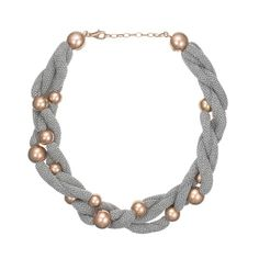 Sterling Silver & Rose Gold Plated Bead Necklace With Silver Mesh//