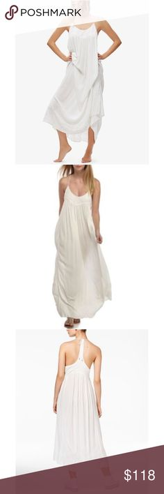 Free People Elaine Ivory Maxi Dress Free People Elaine Ivory Maxi Dress.  Embody sheer effortlessness in this breezy maxi dress from Free People. Ties at back, hits at ankle, scoop neckline; shift silhouette, short tiered flutter sleeves, racerback style; embroidered at skirt, unlined, viscose, machine washable, imported. Free People Dresses Maxi