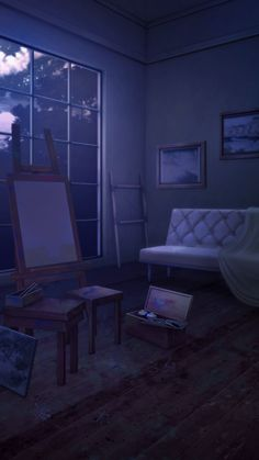 living room with easel night Cenário anime Fundo para video Fundo para fotos