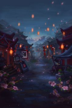 Fantasy Art Landscapes, Fantasy Landscape, Fantasy Artwork, Anime Backgrounds Wallpapers, Pretty Wallpapers, Aesthetic Japan, Aesthetic Art, Chinese Background, Concept Art Tutorial