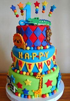 Zoo animal birthday cake- i want to learn how to make this ! Baby 1st Birthday, Birthday Cake Girls, Birthday Ideas, Fun Cupcakes, Cupcake Cookies, Pretty Cakes, Cute Cakes, Zoo Cake, Animal Birthday Cakes