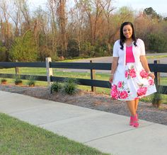 White cardigan, pink tank/shell with pleated white and pink floral skirt, modest outfit