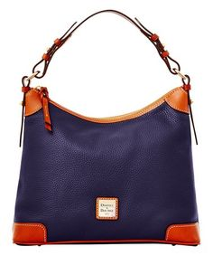 Another great find on #zulily! Midnight Blue Contrast-Trim Leather Hobo #zulilyfinds