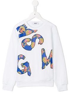 Msgm Kids 로고 프린트 스웨트셔츠