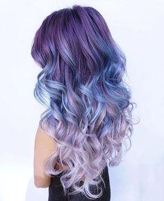 Pastel Renkli Ombre Saç Modelleri ve Saç Renkleri - dalgalı saç eflatun ve mavi renkli | SadeKadınlar - Moda