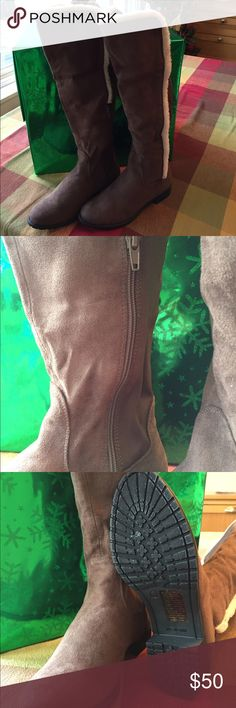Cushion Walk Boots by Avon Cushion Walk Knee-High Stretch Back Boots. Perfect fit elastic panel on back stretches to fit most calves. Faux suede with inside zipper. Cushion Walk footbed for comfort.  New with original packaging. Avon Shoes Winter & Rain Boots