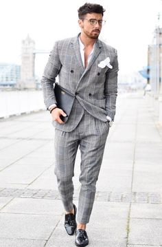 somehow making it look casual .. menswear, plaid suit, double-breasted suit, sockless, pocketsquare, mens style, mens fashion, menswear