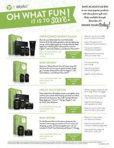 It Works Holiday Deals Starting November 25th- December 21st! HUGE SAVINGS!!! Order at: WrapU4Results.myitworks.com email HeatherLHentila@gmail.com for more information!!!