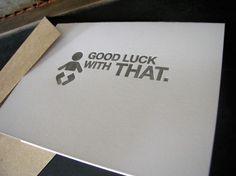 funny snarky new baby congrats letterpress card