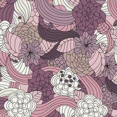 Vintage Wallpaper Patterns   Romantic Flowers Vector Pattern