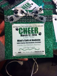 cheer banquet invites i made sorry for no instructions but everythings from michaels or joanns