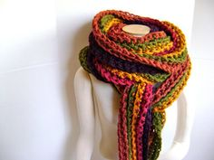 """MILE LONG CROCHETED SCARF I would rate this as a beginner crocheter. This is a super easy flat pattern! You need to know how to chain/slip stitch. This simple pattern has spectacular results at approx. 16' long and 5"""" wide.  ($4.00 to download)"""