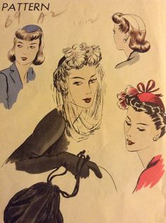 AsIs 1940s Vogue Hat Sewing Pattern Size 22 by TheRecycleista