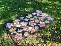 стеганный коврик двухсторонний осенние листья