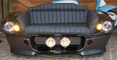 Classic Car Furniture When it comes to classic car furniture, people are doing absolutely amazing things with car parts these . Garage Furniture, Car Part Furniture, Automotive Furniture, Automotive Decor, Furniture Making, Home Furniture, Car Sofa, Couch, Man Cave Garage