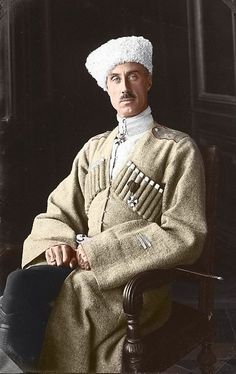 Beautiful coloured photograph of Russian White Army General Pyotr N. Wrangel