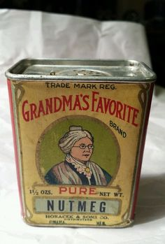 Vtg Grandma's Favorite Nutmeg Spice Box Tin Top Horacek & Sons Omaha Neb